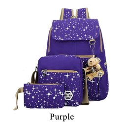 99e0ad42d6ab Fashion Composite Bag Preppy Style Backpacks For Teenage Girls High Quality  Canvas School Bags Cute Bear 3pcs lot Women Backpack