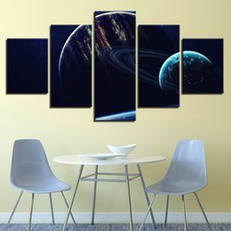 Art Canvas Prints Australia - Printing Abstract Pictures Wall Art 5 Pieces Universe Space Planets Canvas Painting Modular Earth Poster Home Decor Living Room