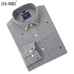 Wholesale blue oxford casual shirt men for sale - Group buy JACK CORDEE Brand Oxford Shirt Men Jacquard Weave Cotton Long Sleeve Dress Shirts Casual Slim High Quality Camisa Social Shirt