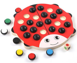 $enCountryForm.capitalKeyWord NZ - Wooden Ladybug Beetle Memory Chess Matching Game Kids Children Brain Early Development Toys - Perfect Gifts for 3 Year Old and Up