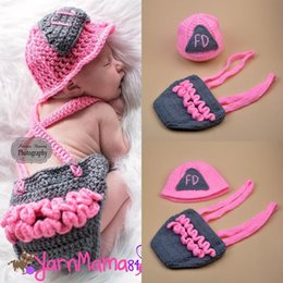 Crochet For Babies NZ - Cute Pink Firemen Design Infant Baby Unisex Photo Props Soft Crochet Baby Hat and Diaper Set for Fotografia Newborn Coming Home Outfits