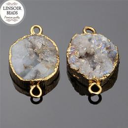 $enCountryForm.capitalKeyWord Australia - 1pcs lot Gold Color Natural Quartz Druzy Stone Bead Pendant Connectors 12~15mm Quartz Charms For Bracelet Jewelry Making F5339