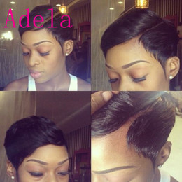 Cheap Celebrity Hair Australia - Celebrity Wigs Lace front human hair wigs Cheap Pixie Cut short glueless wig with bangs for african americans Best brazilian hair wigs