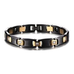 Hematite Jewelry Sets NZ - Valentine's day gift top quality stainless steel ceramic hematite magnet bracelets magnetic cubic zirconia bracelet fashion jewelry 009