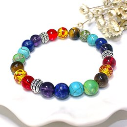 Wholesale New Chakra Bracelets Natural Stone Black Lava Beads Bracelet Women Men Balance Yoga Jewelry
