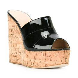 d97d62a05 2018 Women Cork Wedge Sky High Platform Slide Sandals High Heel Mules Black  Silver Summer Shoes Wholesale