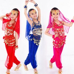 indian costume kids 2019 - New Handmade Children Belly Dance Costumes Set Kids Belly Dancing Girls Bollywood Indian Performance Costumes Whole Set