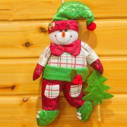 Gift Craft Christmas Ornament Canada - Santa Snoman For Christmas Tree Decor Xmas Decoration Home Decorations For Christmas Table Craft 2 pcs Random Ornaments Gifts