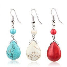 China Summer Vintage Pendant Earrings Dripping Turquoise Features Natural Texture Stone Charm Stud Earrings Women Luxury jewelry suppliers