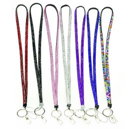 Id badge clasp online shopping - 100pcs Bling Lanyard Crystal Rhinestone in Neck With Claw Clasp ID Badge Holder with job card usually cannot choose