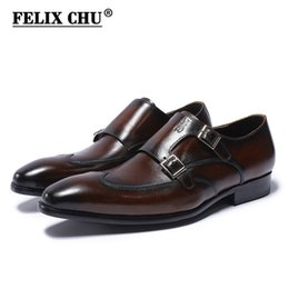 Brown Monk Strap Canada - FELIX CHU Classic Genuine Leather Double Buckles Men's Dress Shoes Formal Wedding Office Man Brown Black Monk Strap Footwear