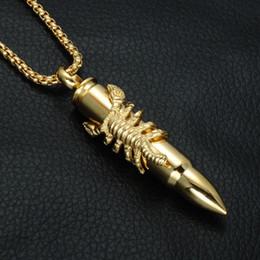 Titane De Luxe En Acier Hiphop Bullet Pendentif Collier Pour Homme 2018 Nouvelle Mode Hip Hop Scorpion Charme Colliers Bijoux en Solde