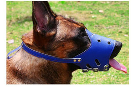 $enCountryForm.capitalKeyWord Australia - Soft PU Leather Adjustable Muzzles for Dog Anti Bark Bite Grooming Training Mouth Cover Pet Outdoor Accessory Perros Mesh Mask Pink Blue