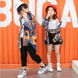 ae150a1dd746 Kids Ballroom Print Jacket Pants dancing Stage Outfit Girls boy  Competitions Modern Jazz Hip Hop dance wear Clothing Street wear