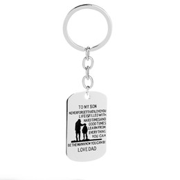Classic Alloy NZ - Classic Sliver Color Square Zinc Alloy Father's Message Key Chains For Yon Men Gifts Key Ring