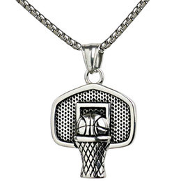 Wholesale Basketball Basket Pendant Necklace Stainless Steel Chain Ball Necklace Charm Men Sports Team Hip Hop Jewelry