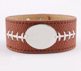 Cuff bangle blanks online shopping - Silver Tone Blank Monogram Leather Cuff Football Bracelet for Women Men Personalized Monogram Customized PU Leather Wrap Bracelet Bangle