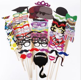 China Photo Props Interesting Birthday Parties Welcome Creative Wedding Red Lip Paper Beard Paper Hat Fun Birthday Paper Cap 76pcs set cheap lips wedding props suppliers