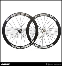 Fixed Gear Track Australia - 700C Carbon Track bike wheelset 50mm HED painting Clincher Tubular Flip Flop fixed gear Single Speed bike wheels