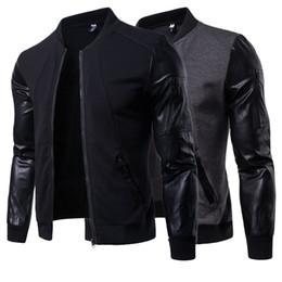 Men short sleeve leather jackets online shopping - New Autumn Spring England Style Men s Vertical Collar Jacket Leather Long Sleeve Splice Short Cardigan Men s Wear