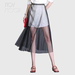 792dab45c6 Women fashion summer transparent mesh skirts black grey apricot A-Line long  pleated skirt faldas jupe saia etek clothes LT2184