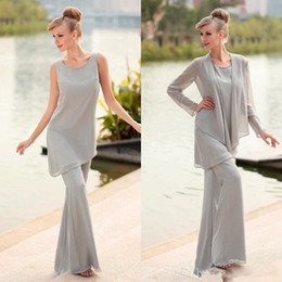 $enCountryForm.capitalKeyWord Australia - 2019 Gray Three Pieces Grey Mother's Pants Suits Beaded Long Chiffon Formal Mother of the Bridal Suits with Long Sleeves Jacket