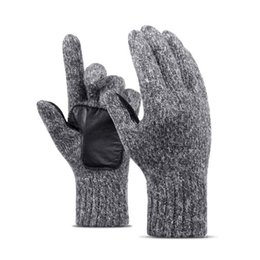 gloves for fingering NZ - SUOGRY Wool Knitted Winter Gloves Unisex Full Finger Middle Finger Gloves Hand Thicken Thermal Mittens For Women Men