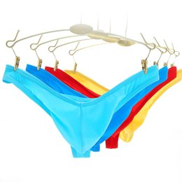 45b5c0be0e32 Mens Ice Silk Micro Penis Pouch Thongs and G Strings Low Waist Man Sexy  Bikini Tangas T Back Panties Male Gay Underwear Lingerie