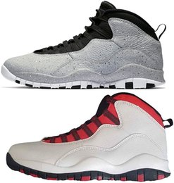 promo code 25e53 1ed44 2018 hot sale 10 10s for Cement Westbrook Basketball Shoes Blue cool Grey  red Chicago Men trainers Shoes classic Sneakers size US 8-13