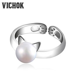 $enCountryForm.capitalKeyWord Canada - 925 Sterling Silver Rings for Women Girls Pearl Cat Ear Ring Cute Animal Adjustable Ring Femme Bijoux Jewelry Birthday VICHOK