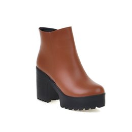 $enCountryForm.capitalKeyWord Canada - qchQ48Winter thick high heel zipper solid color British style thick base anti-skid short boots