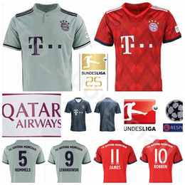 2018 2019 Bundesliga Soccer Bayern Munich Jersey Men 9 LEWANDOWSKI 10  ROBBEN 11 JAMES 25 MULLER 5 HUMMELS Football Shirt Kits Red Green fc669e160