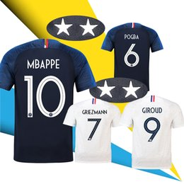 2 Star 2018 world cup jersey GRIEZMANN MBAPPE POGBA France Home away Blue  and white soccer jersey Two Stars DEMBELE MARTIAL football shirt 3e3df8c39