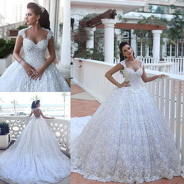 Discount dress full hand images - 2018 Cheap Arabic Ball Gown Wedding Dresses Sweetheart Full Lace Beads Bling Cap Sleeves Court Train Backless Plus Size