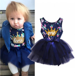 $enCountryForm.capitalKeyWord Canada - New European American Style Gauze Party Dress Fashion Baby Girls Knee-Height Tutu Sleeveless Big Bow Dress Cotton Floral Printed Dresses
