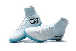 $enCountryForm.capitalKeyWord UK - Original White Blue CR7 Kids Indoor Soccer Shoes Mercurial Superfly TF Womens Soccer Cleats High Ankle Top Quality Children Football Boots