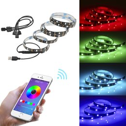 Wholesale One for four TV background lights Bluetooth USB APP mobile phone controller Hot LED light strip
