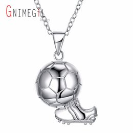 soccer shoes wholesale 2019 - GNIMEGIL Sporty necklace football & Shoes Pendant With Chain 925 Sterling Silver Soccer Necklace Men Women sport ball Je