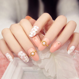 $enCountryForm.capitalKeyWord NZ - New 24pcs fashion pink base white floral pearl Nail Acrylic full cover False Nail Fake Nails art Tips Stickers with GLUE in