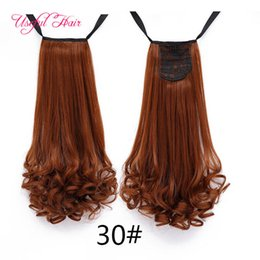 curly hair pony tail NZ - Wholesale ombre color ponytail hair extensions curly Synthetic Hair Pony tail Long ponytails for curly hair ponytails for black women
