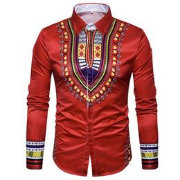 Mens Black Shirt Patterns NZ - Mens Shirts African Nation Pattern Printed Single-breasted Mens Dress Shirt Summer Shirt Totem Slim Fit Male Shirts S2939