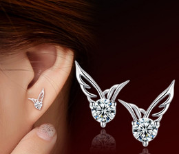 angel wings earrings Canada - Manufacturers wholesale explosion models ear studs Korean angel wing ear silver plated fashion wings earrings female models