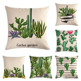 Wholesale Linen Pillow Cover Cartoon Cactus Cotton Cushion Pillow Case Cover Chair Seat Home Living Room Decorative Pillowcases