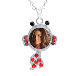 printing sublimation UK - button necklaces pendants for dye sublimation fish necklace pendant jewelry for women hot tranfer printing consumable 4colours