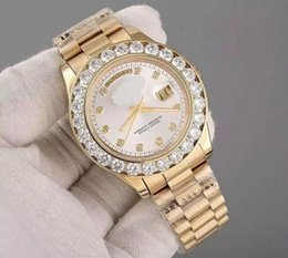 Discount pearl watch men - 2017 Luxury Brand Gold President Day-Date Diamonds Watch Men Stainless Mother of Pearl Dial Diamond Bezel Automatic Wris