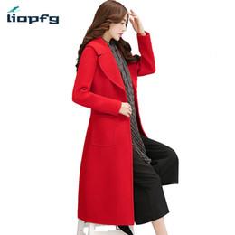 7daf30e0730 Women s Brand 2017 New Winter Coat Plus Cotton Long Woolen Jacket Suit  Collar British Temperament Kneeling Red Wool Coat WM449