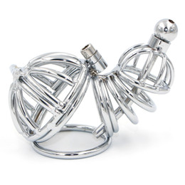 $enCountryForm.capitalKeyWord Australia - 2017 New Metal Double Male Chastity Cage Cock Cage With Urethral Tube Cock Penis Ring Sleeve Penis Cage Sex Toys For Men Gay Y1892804