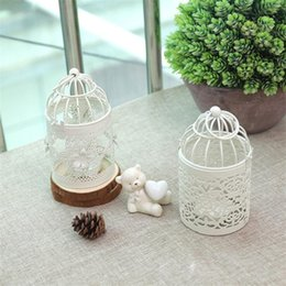 Discount lanterns holder - New White Color Bird Cage Decoration Candle Holders Metal Lantern Candelabra Wedding Candlestick Home Wedding Decor