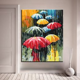 diy oil paint number kits Canada - DIY Oil Painting By Numbers Kits Coloring Handpainted In The Rain Colorful The Rain Umbrella Pictures On Canvas Home Decor Art