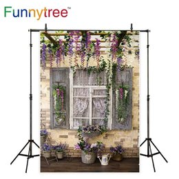 Discount scenic backdrop brick wall - Funnytree background for photo studio Flower stand vintage wood window garden brick wall photography backdrop photocall
